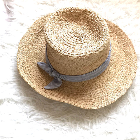 Hat Attack (Anthropologie) Brimmed Straw Hat with Pinstripe Bow Detail