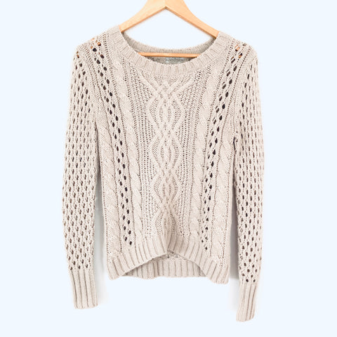 Storia Cream Cable Knit with Open Holed Sleeves- Size XS