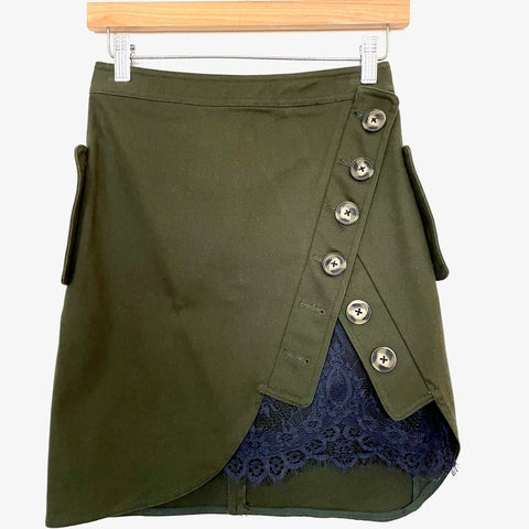 Self Portrait Olive Utility Skirt with Navy Lace Underlay- Size 4