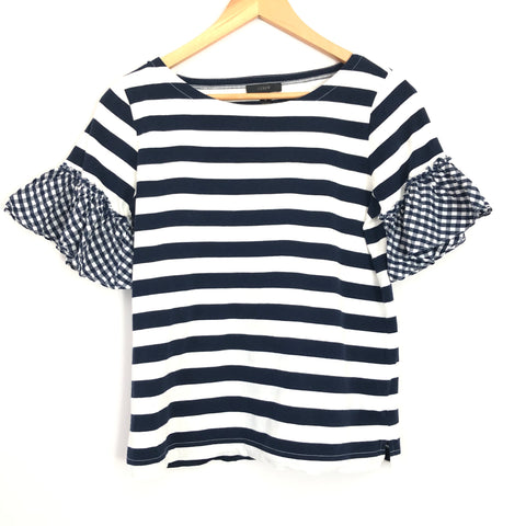 J Crew Stripe Sleeve Tee with Gingham Sleeves - Size XS