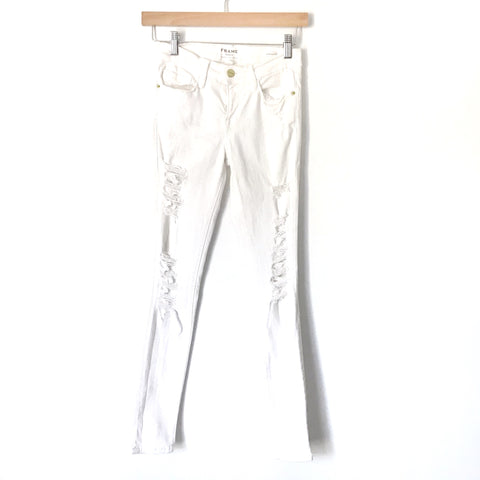 "FRAME White Distressed Skinny Jeans- Size 25 (Inseam 27"")"
