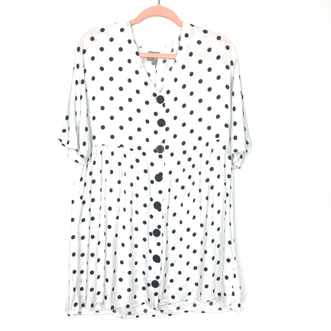 ASOS White and Black Polka Dot Button Up Dress- Size 0 (see notes)