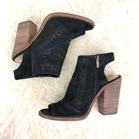 Vince Camuto Black Suede Leather Peep Toe Booties- Size 8.5