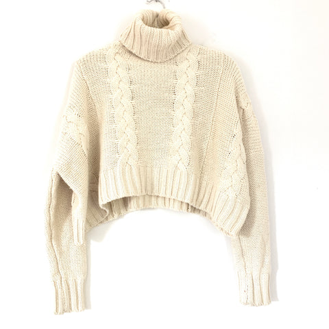 Goodnight Macaroon Ivory Thick Cable Knit Crop Box Turtleneck Sweater- Size ~S
