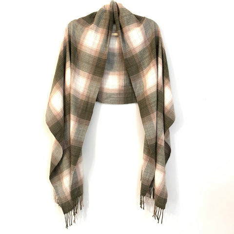 No Brand Brown & Pink Plaid Flannel Scarf