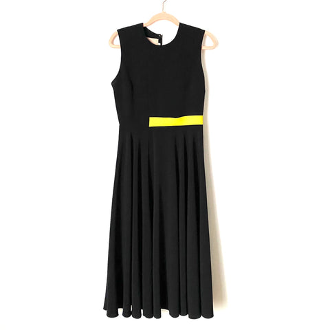 Roksanda Black Colorblock Dress with Neon Waist Stripe- Size 12 (see notes)