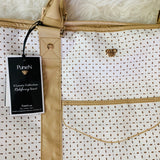 PurseN White & Tan Large VIP Travel Tote NWT (with 8 pockets and compartments!)