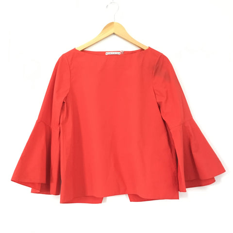 30b719925b4d24 Alice & Olivia Red Cotton Bell Sleeve Blouse with Split Back- Size S