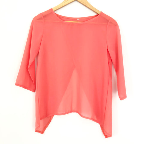 9392d5d2b17434 No Brand Sheer Coral Top with Split Back Size S