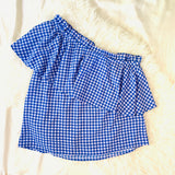 BP Blue Gingham One Shoulder Blouse- Size XS