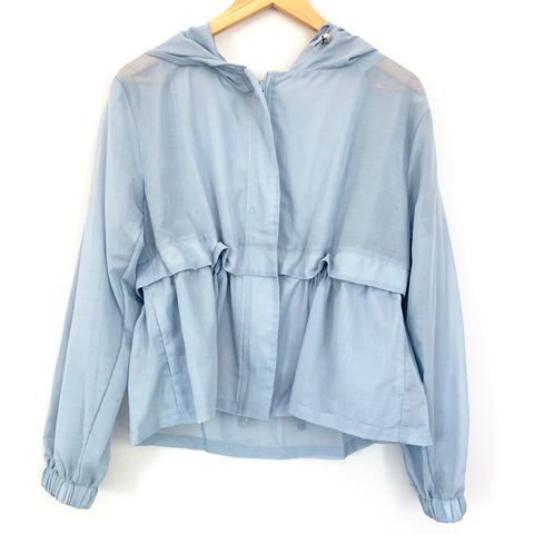 A New Day Light Blue Hooded Cinched Waist Jacket- Size S