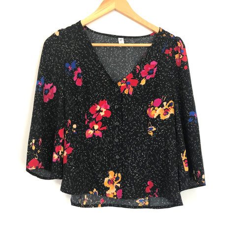 BP Black Fleck Floral Button Up 3/4 Sleeve Blouse NWT- Size XS