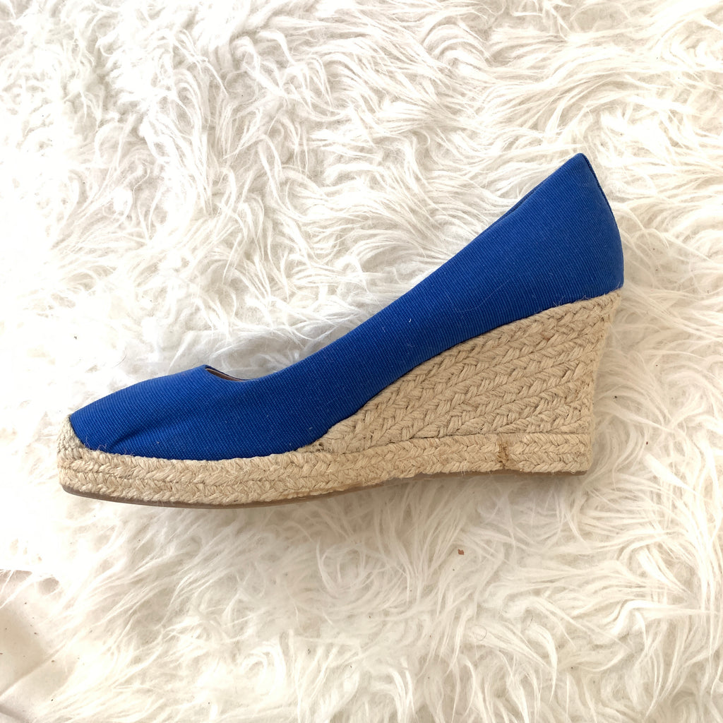 6084fd8215c J Crew Bright Blue Canvas Espadrille Wedges- Size 10 – The Saved ...