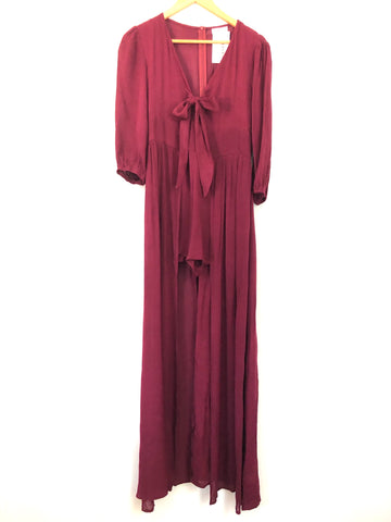 Pink Lily Burgundy Maxi Romper NWT- Size S