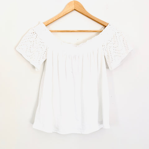 Express One Eleven White Off the Shoulder Eyelet Blouse NWT- Size M