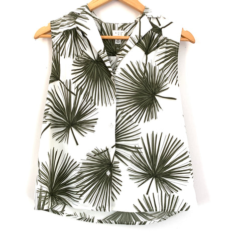 A New Day Palm Button Up Sleeveless Top- Size XS