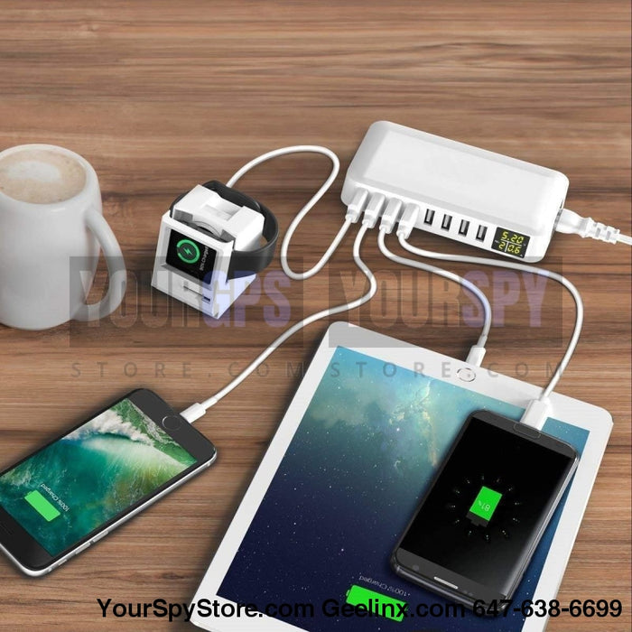 Charging Station - 8- Port USB Charger Charging Station For Multiple Devices With LED Display (Laptops/Tablets/Phones)