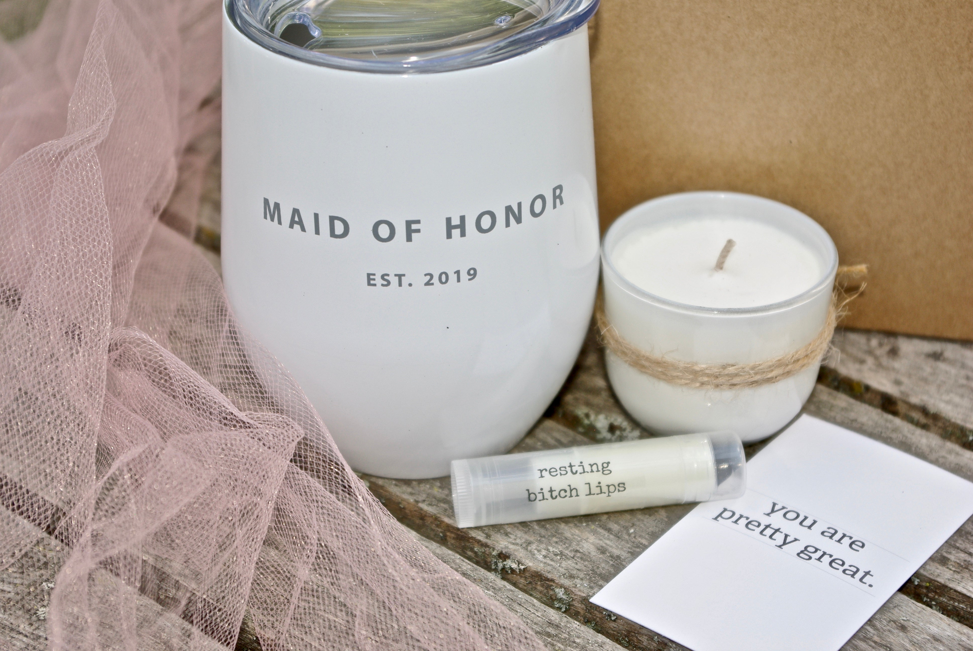 Personalized maid of honor proposal box bridesmaid tumbler