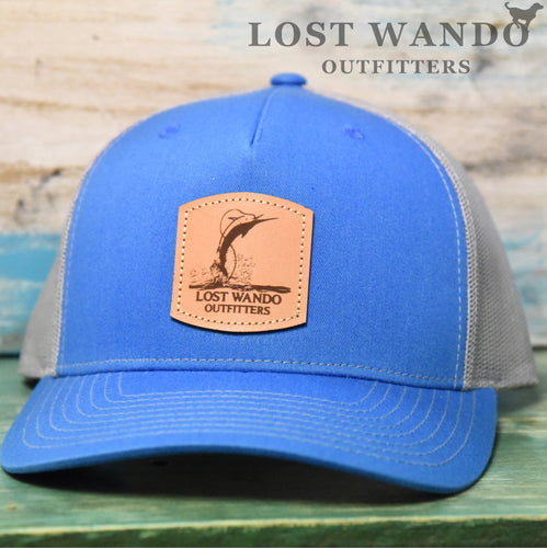 Air Marlin - Leather patch hat - Richardson 112 FP Cobalt Blue-Light Grey Lost Wando Outfitters