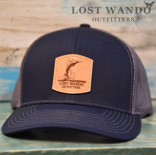 Air Marlin - Leather patch hat - Richardson 112 Navy-Charcoal Lost Wando Outfitters