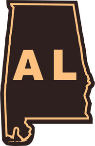 Alabama State Outline Etched Leather Patch Hat-Navy-Orange Lost Wando - Lost Wando Outfitters