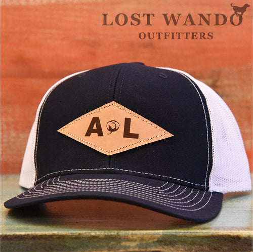 Alabama Diamond Leather Patch Navy-White Lost Wando Outfitters - Lost Wando Outfitters