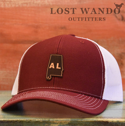 Alabama State Outline Etched Leather Patch Hat-Cardinal-White Lost Wando - Lost Wando Outfitters