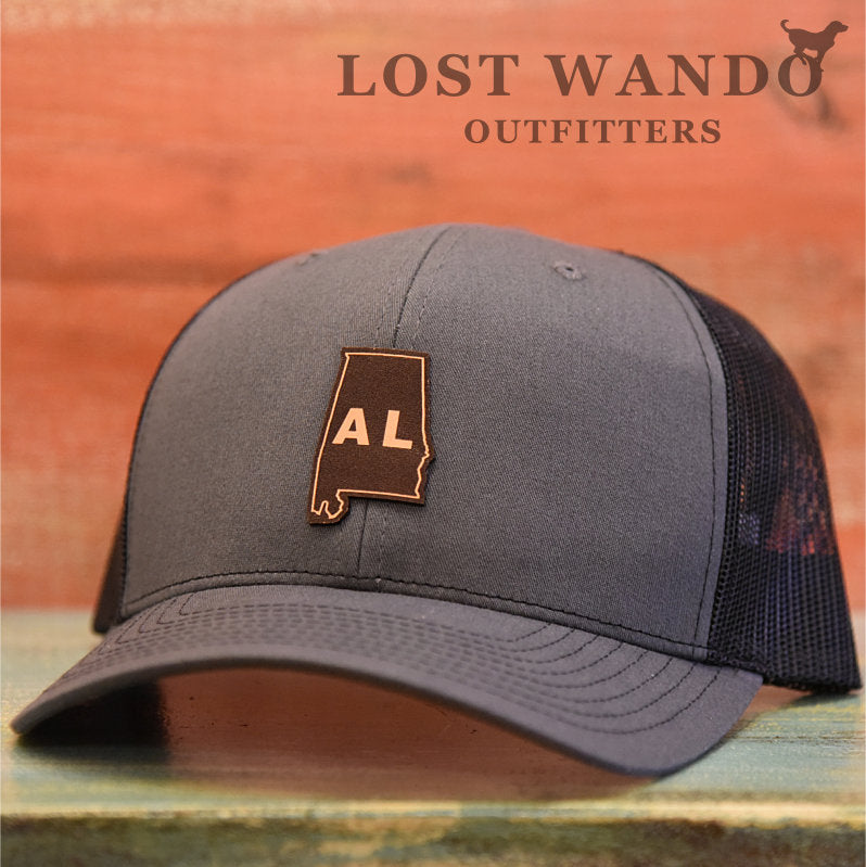 Alabama State Outline Etched Leather Patch Hat-Charcoal-Black Lost Wando - Lost Wando Outfitters