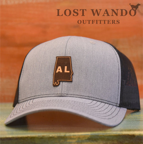 Alabama State Outline Etched Leather Patch Hat-Heather Grey-Black Lost Wando - Lost Wando Outfitters