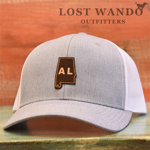 Alabama State Outline Etched Leather Patch Hat-Heather Grey-White Lost Wando - Lost Wando Outfitters