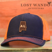 Load image into Gallery viewer, Alabama State Outline Etched Leather Patch Hat-Navy-Orange Lost Wando - Lost Wando Outfitters