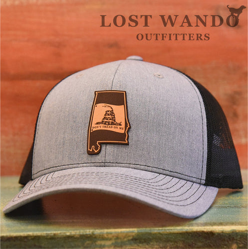 Alabama State Don't Tread On Me Gadsden Flag Leather Patch Hat-Heather Grey-Black - Lost Wando Outfitters
