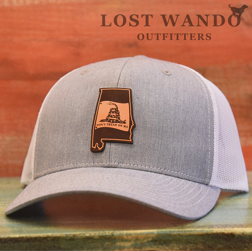 Alabama State Don't Tread On Me Gadsden Flag Leather Patch Hat-Heather Grey-White - Lost Wando Outfitters