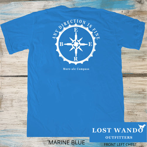 Any Direction - My More-Ale Compass Marine Blue Short Sleeve T-shirt Lost Wando Outfitters