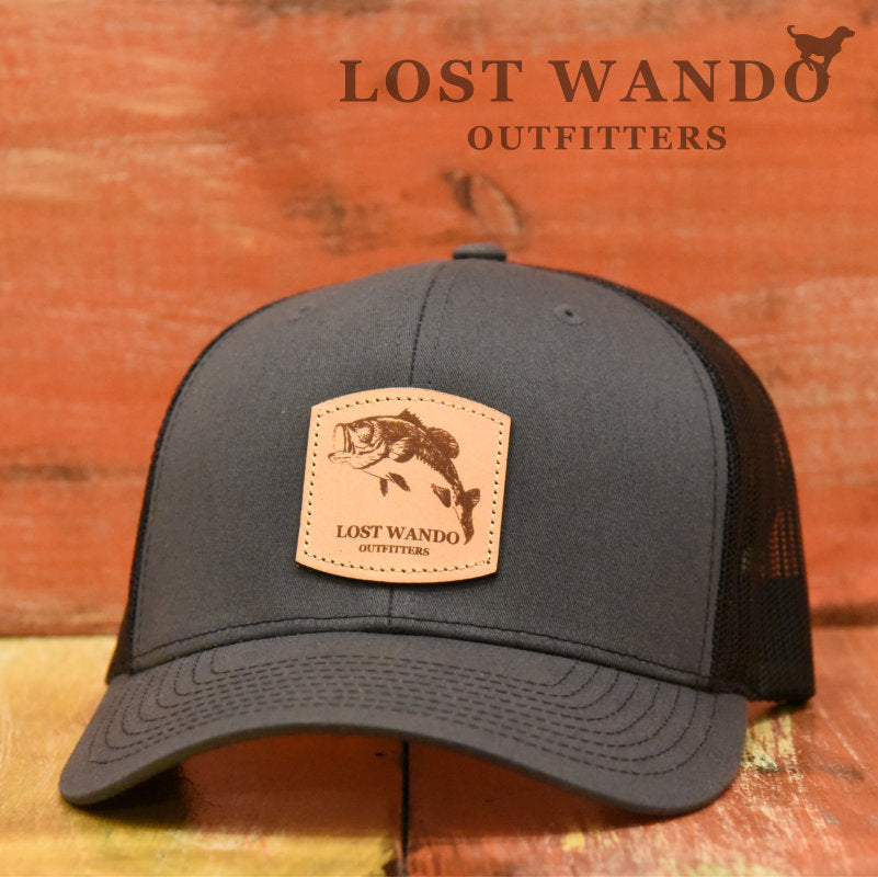 Bass Leather Patch Hat Charcoal-Black Lost Wando Outfitters - Richardson 112 - Lost Wando Outfitters