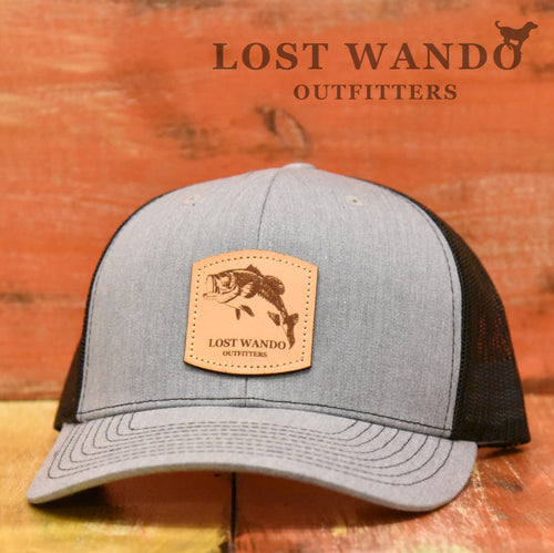 Bass Leather Patch Hat Heather Grey Black Lost Wando Outfitters - Richardson 112 - Lost Wando Outfitters