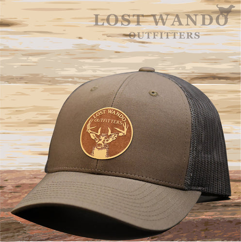 Buck Chocolate Chip-Brwn Gray Leather Patch Hat Lost Wando Outfitters - Lost Wando Outfitters