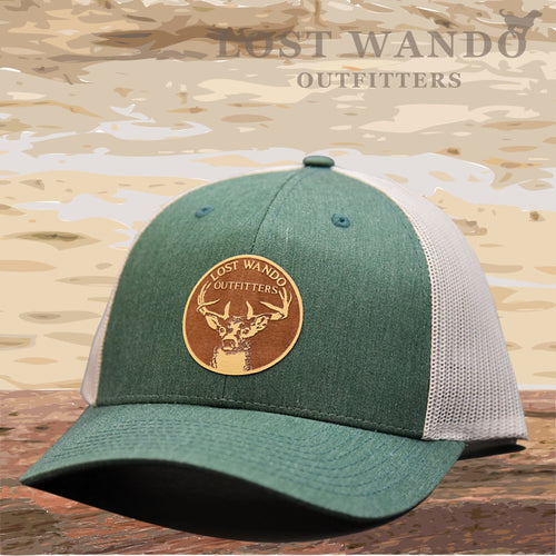 Buck Heather Green-Light Grey Leather Patch Hat Lost Wando Outfitters - Lost Wando Outfitters