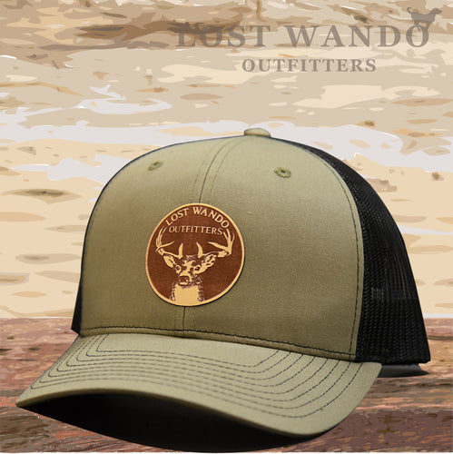 Buck Loden-Black Leather Patch Hat Lost Wando Outfitters - Lost Wando Outfitters