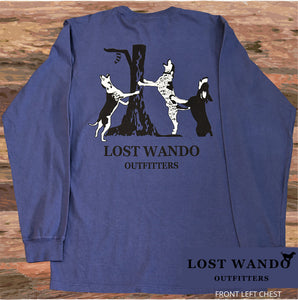 Lost Wando Coon Hounds Long Sleeve Navy T-shirt - Lost Wando Outfitters