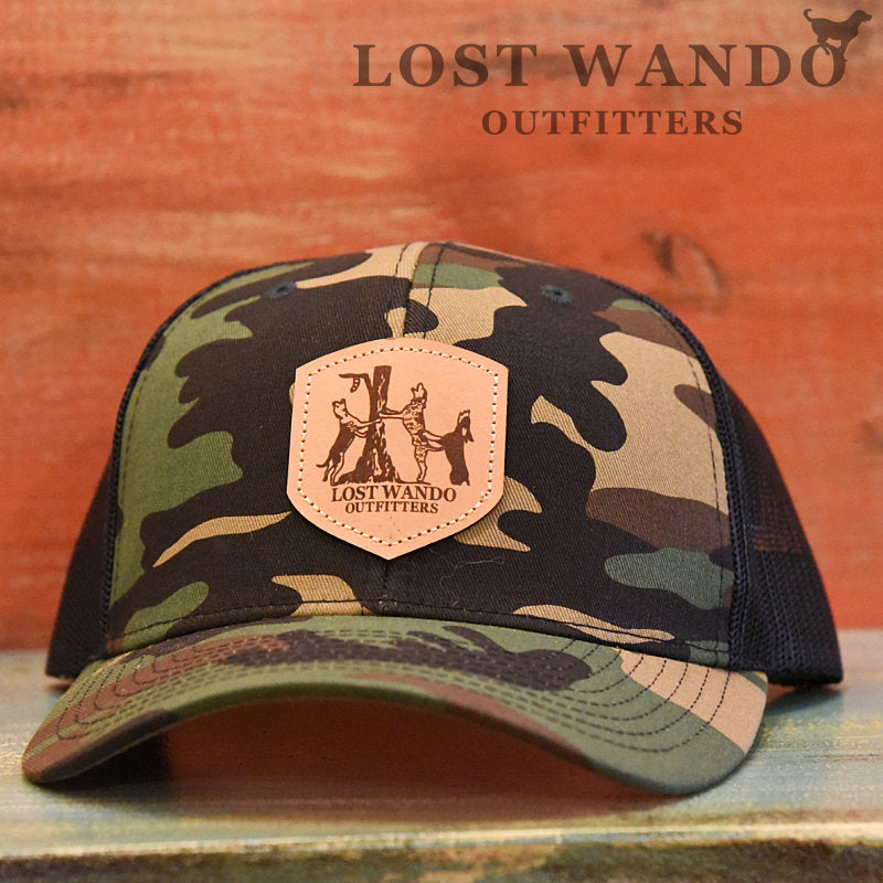 Coon Dogs Camo-Black Leather Patch Richardson 112 Hat Lost Wando Outfitters - Lost Wando Outfitters
