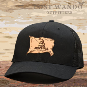Don't Tread On Me Gadsden Flag - leather patch hat - Black-Black Lost Wando Outfitters - Lost Wando Outfitters