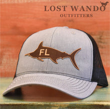 Load image into Gallery viewer, Florida Marlin Leather Patch Hat - Heather Grey-Black Richardson 112 - Lost Wando Outfitters