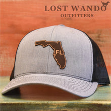 Load image into Gallery viewer, Florida State Outline Etched Leather Patch Hat -Heather Grey-Black Richardson 112 - Lost Wando Outfitters