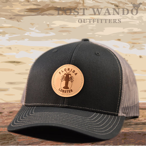 Florida Lobster Leather Patch Hat - Black-Charcoal Richardson 112 - Lost Wando Outfitters