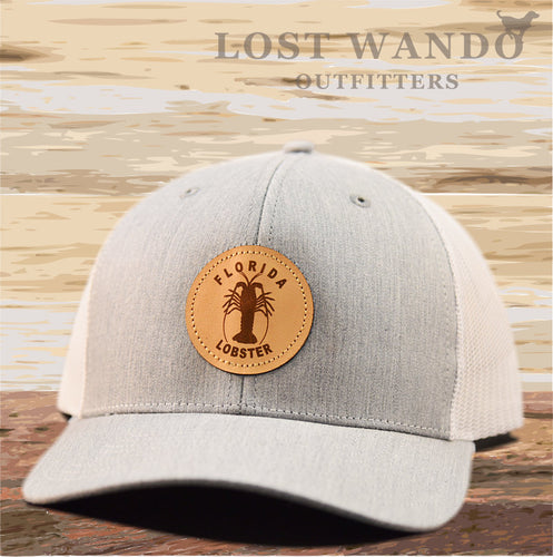 Florida Lobster Leather Patch Hat - Heather Grey-White Richardson 112 - Lost Wando Outfitters