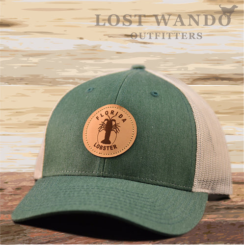 Florida Lobster Leather Patch Hat - Heather Green - Light Grey Richardson 115 - Lost Wando Outfitters