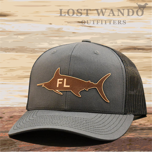 Florida Marlin Leather Patch Hat - Charcoal-Black Richardson 112 - Lost Wando Outfitters