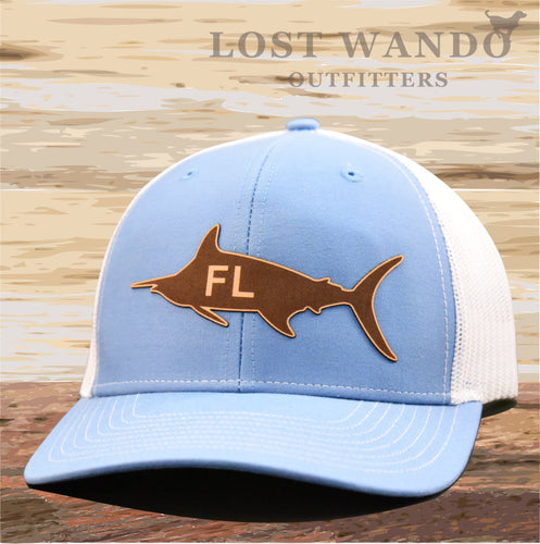 Florida Marlin Leather Patch Hat - Columbia Blue-White Richardson 112 - Lost Wando Outfitters