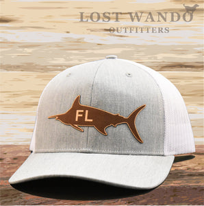 Florida Marlin Leather Patch Hat - Heather Grey-White Richardson 112 - Lost Wando Outfitters